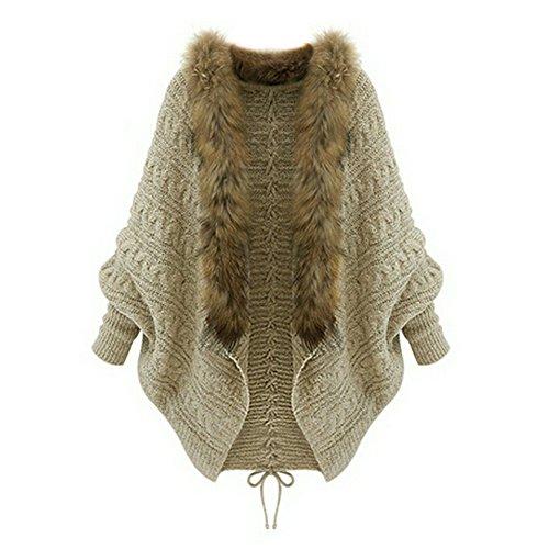 Women Dolman Batwing Sleeve Sweater Coat Loose Autumn Winter Faux Fur Collar Knit Cardigan Oversize Jacket Outerwear Shawl Cloak Overcoat for Size S-XL – Landove