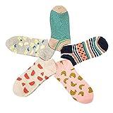 iShine 5 Paire de Socquettes Tricoté Chaussettes en Coton Talon de Chaussettes Couleurs Claire Socquettes pour Femme Fille Homme Garçon