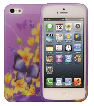 Price comparison product image FoneM8® - PURPLE Butterfly Yellow Flowers Designer Case For iPhone 5 5S Gel Skin Cover