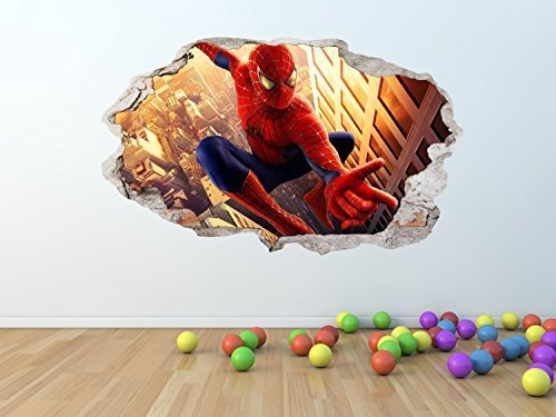 AMAZING SPIDERMAN GEBROCHEN / ZERTRÜMMERT WAND Effekt Wandkunst Aufkleber RIESIGES GRÖßEN - pw142 - GIANT 100 x 60 cm (Man Spider Wand Amazing)