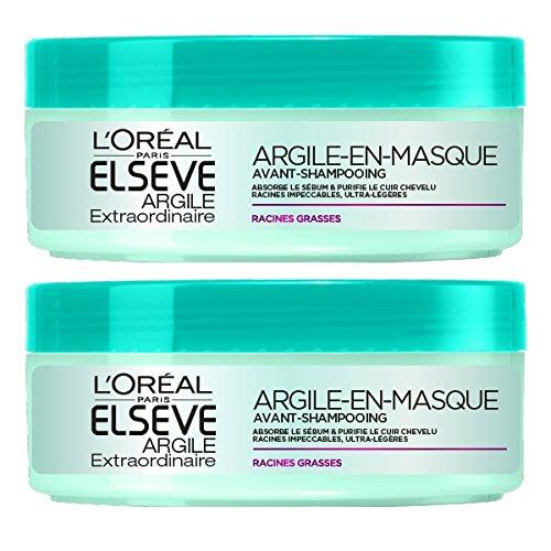 L'Oréal Paris Elvive extraordinario ante mascarilla de arcilla Champú para cabello graso 150 ml Juego de 2