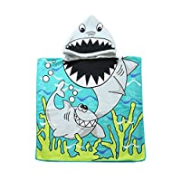 LuMon Children Cartoon Baby Animal Hooded Beach Towel Microfiber Printing Necessary Swimming Absorben quick-drying baby safe Toddler Beach Bath Robe