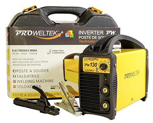 proweltek estación de soldadura inverter 130A incluye: maletín, cortador de masa, puerta electrodos