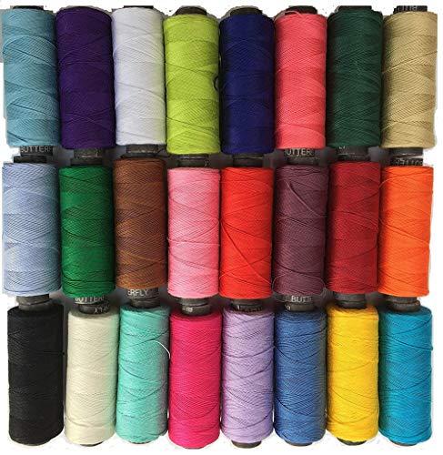 Amito Lot de 24 bobines de fil à coudre de couleur 100 % coton Haute qualité