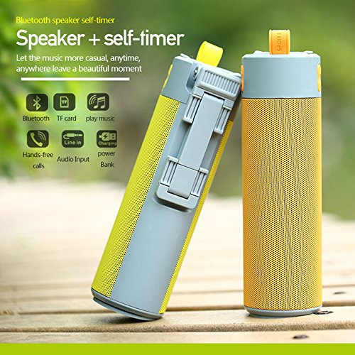Buyerzone Multifunctional Bluetooth Speaker Selfie Stick with Portable Power Bank, Wireless Self Timer and Phone Holder USB/TF Card