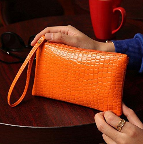 Dairyshop Cassa della cassa della borsa della moneta delle signore delle nuove borse di modo del coccodrillo di modo delle donne (Giallo) Arancio