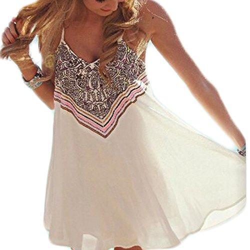 er Strand ärmellos Trägerlos Print Nationaler Stil Lose Neckholder Chiffon Rock Frauen Minikleid Partykleid Elegant trägerkleid (M) (Mädchen Hi Lo Kleid)