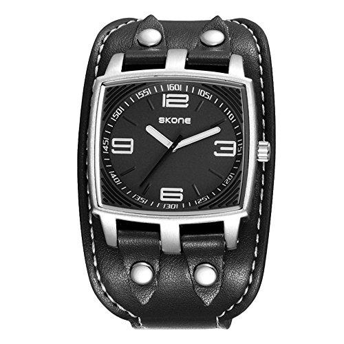 Fashion Sport Rechteck Breitband Uhren Pu Leder Uhrenarmband Quarz Herrenuhren Armbanduhren Für Herren, Schwarz