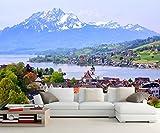 Yosot Benutzerdefinierte Große Wandmalereien, Schweiz Häuser See Berge Natur 3D Tapeten, Wohnzimmer Schlafzimmer Tv-Wand-200Cmx140Cm