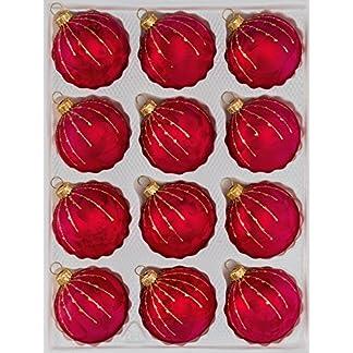 12-tlg-Glas-Weihnachtskugeln-Set-in-Ice-Rot-Gold-Regen-Christbaumkugeln-Weihnachtsschmuck-Christbaumschmuck