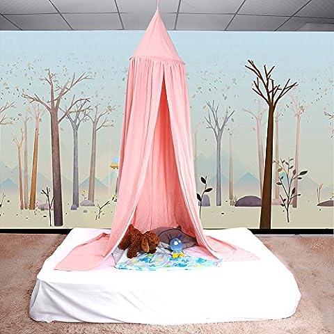 Betthimmel Baldachin aus Baumwolle Leinwand Deko Baldachin für Kinderzimmer Babybetthimmel auch als Mückenschutz Gute Luftzirkulation, mit Installation Tools, Höhe 235cm (Hellrosa)