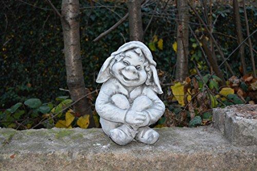 """D2298 Lustiger Gnom ,,ich sitze hier und warte"""" Troll Gartenfigur Steinfigur - 2"""