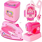 TEMSON Battery Operated Pink Household Home Apppliances Kitchen Play Sets Toys for Girls (B)