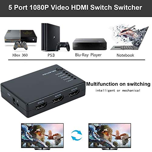 5 Port 1080P Video HDMI Switch Switcher Splitter for HDTV PS3 DVD + IR Remote(Color:Black)