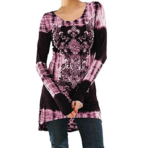 Damen Printed Sweatshirts ✽ZEZKT✽Floral Outerwear Langarm Plus Größe Langarmshirt Schwarz Casual Top (XXL, Rosa)