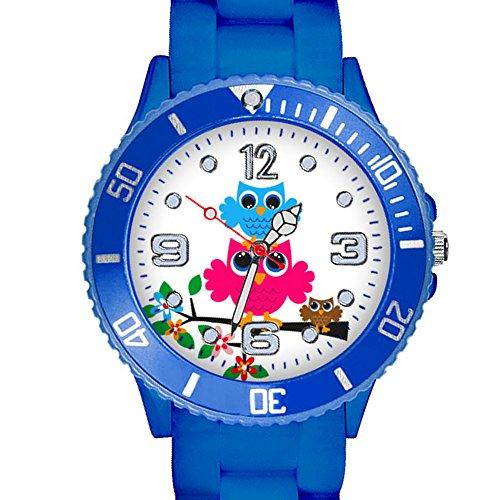 Taffstyle Kinder Armbanduhr Silikon Sportuhr Bunte Sport Uhr mit Blumen Eulen Familie Motiv Analog Quartz Little 34 mm Blau -