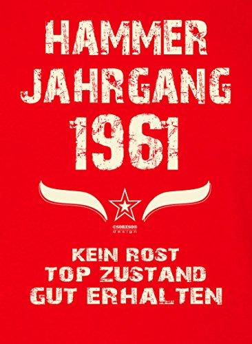 Geschenkidee zum 56. Geburtstag :-: Herren kurzarm Geburtstags-Sprüche-T-Shirt mit Jahreszahl :-: Hammer Jahrgang 1961 :-: auch Übergrößen 3XL 4XL 5XL :-: Farbe: rot Rot