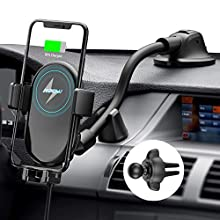 Mpow Wireless Car Charger, 10W/7.5W Qi Fast Charging Car Phone Holder for Air Vent and Dashboard, Auto-clamping Car Phone Mount for iPhone 11 Series/X/XR/8P/8, Galaxy S20 Series/Note10/S10, etc