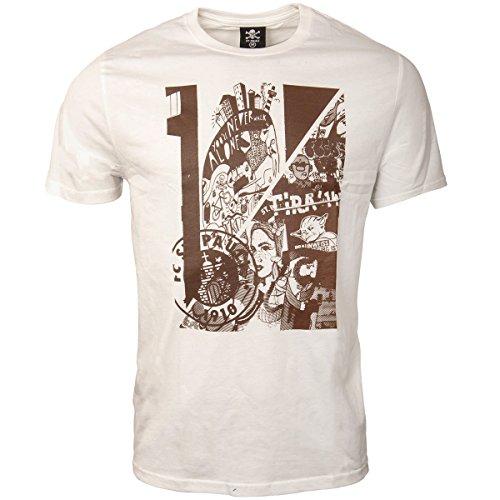 FC St. Pauli Herren T-Shirt Kunstdruck Collage Vereinslogo Hamburg Weiß Braun (XL)