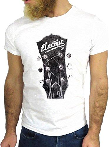 T SHIRT JODE Z3478 GUITAR ROCK ROOTS COOL VINTAGE NICE BIKER MUSIC JAZZ COUNTRY GGG24 BIANCA - WHITE
