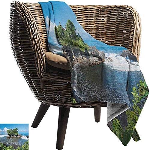 Ducan Lincoln Blanket Königin-Größen-Flanell-Vlies-Wurfs-Decke Balinese,Tanah-Los-Tempel Im Architektur-Erbbild-Blau des Bali-Insel-Gewellten Ozeans Historischen,127x102 cm