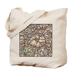 CafePress diseño de mapa de París Francia–Gamuza de bolsa de lona bolsa, bolsa de la compra