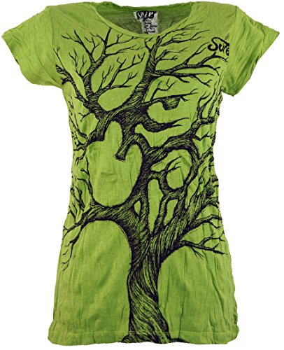 Guru-Shop Sure T-Shirt Om Tree, Damen, Lemon, Baumwolle, Size:L (40), Bedrucktes Shirt Alternative Bekleidung