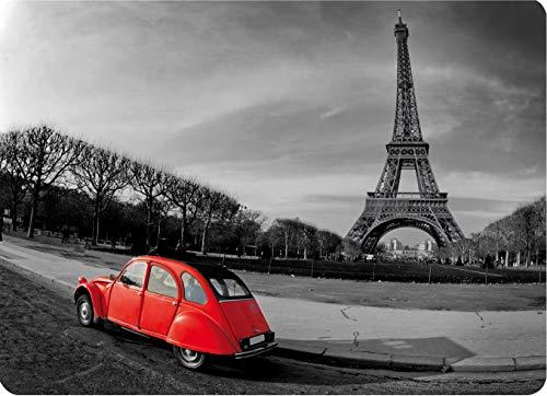 Postergaleria Platzsets 6 Stück Kork Dick 30x40 cm auf dem Tisch Bild Viele Motive und Muster (rotes Auto in Paris) (Rot Kork Tischsets)
