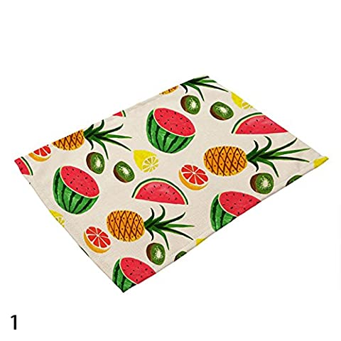Calistous 42 x 32 cm de cuisine en coton et lin Fruits Pad Set de table Tapis de table de salle à manger