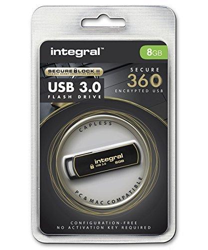 Secure Lock Usb (Integral Memory INFD8GB360SEC3.0 USB 3.0-Stick mit SecureLock Software schwarz/gold)