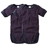 wellyou Baby und Kinder kurzarmbody/baby-body mädchen und junge aus Baumwolle, kurzarm body in marine-neonpink 2er Set gr 68-74