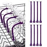 JYC/Cheap.Sale | 8Pcs Adjust Silicone Wine Glass Dishwasher Goblet Holder Safer Stemware Saver (Purple)