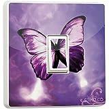 Purple Butterfly Light Switch Sticker vinyl cover skin [Generic Single]
