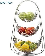 Plantex Stainless Steel Triple Step Swing Fruit & Vegetable Basket for Kitchen/Fruit Basket for Dining Table/Fruit & Vegetable Storage Basket