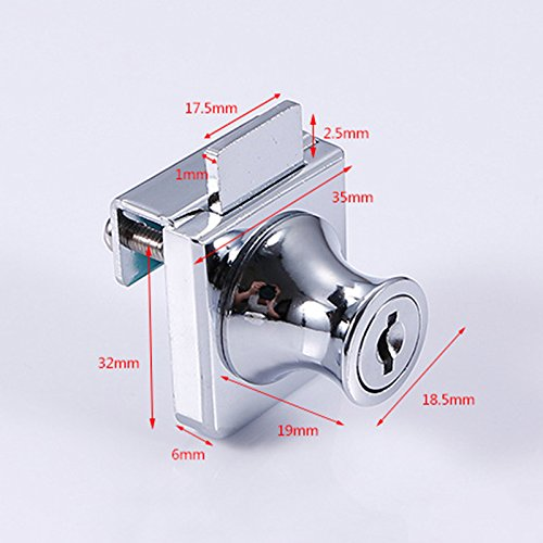 51HZFxA7vnL - Acutty aleación de Zinc Cerradura Cristal Vitrina Ventana de candados para 5-8mm Puerta de Cristal sin Broca con 2Llaves