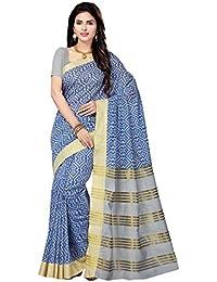 Rani Saahiba Art Cotton Silk Printed Zari Border Saree ( SKR2927_Grey - Blue )