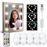 Kit de Lumière LED Miroir IDESION 10 Ampoules Lampes de Maquillage Guirlande pour Coiffeuse avec Câble Connecteur USB Télécommande RGB 6500K 12 Couleurs et 36 Modes Éclairage Être Connecté En Série