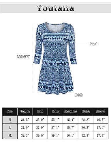 Youtalia Sommer Tunika Top mit Rundhals 3/4 Arm Empire-Stil Floral bedruckt Schwingender Saum Oberteil für Damen Blau