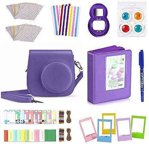 FollowSun 10 en 1 Kit d'Accessoires Pour Appareils photo instantané Fujifilm Mini 8 8S 8+ 9, Inclus Etui Caméra Violet/Album (64 Poches)/Selfie Objectif/Filtres Colorés (4 Couleurs)/ Cadres de Support Mural (20 Pièces)/Cadres de Photo (5 Pièces)/Bordures Autocollants (40 Pièces)/2 Coins Autocollants/Stylo