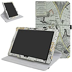 "Acer Iconia One 10 B3-A40 Rotating Coque,Mama Mouth 360 Degree Rotating PU Cuir debout Fonction Housse Coque Étui Couverture pour 10.1"" Acer Iconia One 10 B3-A40 Android Tablet,Map"