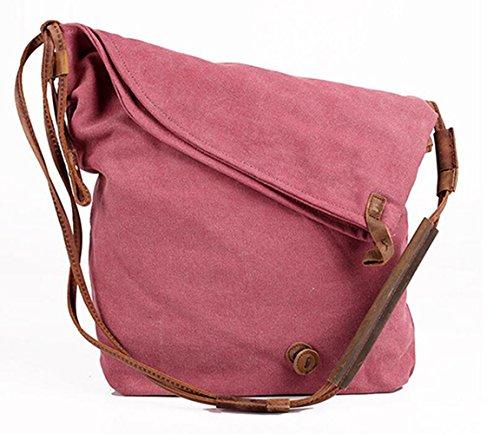 MeiliYH Delle Donne Cross-corpo Borsa Unisex Scuola Bag Messenger Bag Retro Borsa a Mano Sacchetto di Spalla in Tela Shoulder Bag Rosso