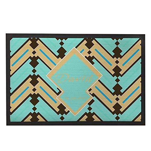 best bags Sacs Welcome Paillasson personnalisé géométrique Paillasson extérieur Tapis Bleu Sarcelle Porte Tapis Intérieur Nom Rustique décoratif Home Tapis