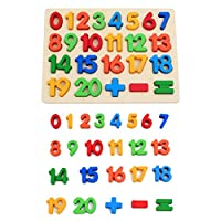 KanCai Kids Wooden 1-20 Number Puzzle Board -early Learning Toys (numbers Puzzle)