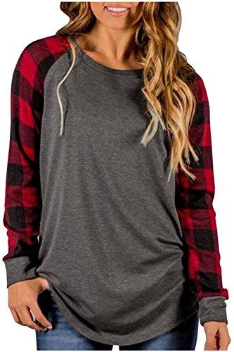 Zaywind Damen Langarmshirt Patchwork Sweatshirt Streifen Gestreift Rundhals Pullovers Gitter Stitching Lose Oversize Bluse T-Shirt Hemd Oberteil Tops (Charmante Streifen-kragen)