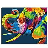Dreamsy Malen nach Anzahl Kit, DIY Ölgemälde Zeichnung Elefant Bunte Leinwand mit Pinsel Dekor Dekorationen 16 * 20 Zoll mit Rahmen