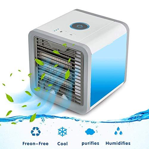 Luftkühler, 3-In-1 Tragbarer Mini-Luftkühler USB-Mini-Luftbefeuchter & Luftreiniger Mit 7 Farben LED-Leuchten