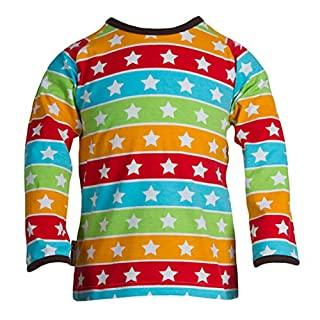 JNY Colourful Kids–Boys Long Sleeve Striped Stars with Stars in Stripes Baby Girl's T-Shirt SS1155-20 - Multicolour - M