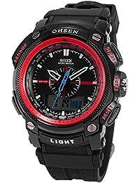 OHSEN LCD Dual Core para hombre Mujer Deporte Fecha Día Rojo cronómetro Negro Goma Reloj