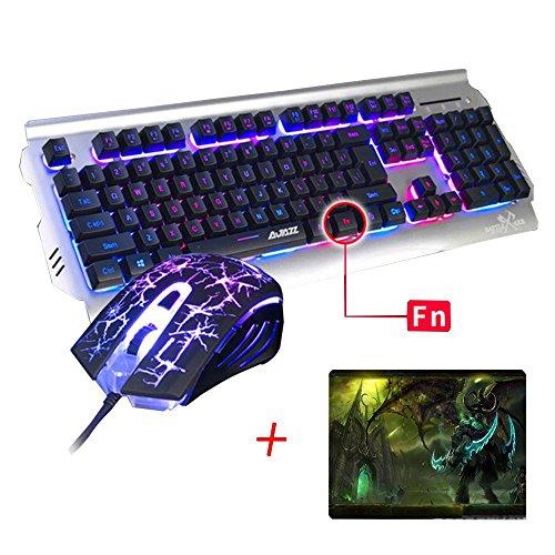 UrChoiceLtd 2016Ajazz batalla hacha RGB LED 7colores del arco iris Retroiluminado Ergonomic USB Teclado Gaming Multimedia + 2400dpi ratón para juegos para ordenador portátil