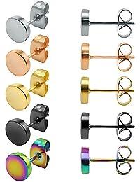 ZeSen Jewelry 5 Pares Pendientes de Acero Inoxidable Pendientes Falsas Dilataciones cartílago de la hélice de